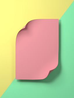 3d übertragen bild des bunten leeren pastellpapiers für gesetzten text oder produkt. kreative flache lage übertragen bild des modells des leeren papiers.