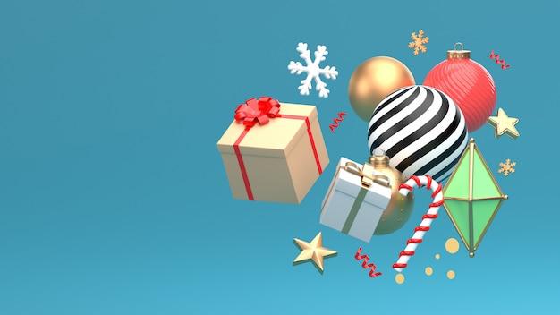 3d übertragen bild des verzierungsisolats des weihnachtsneuen jahres auf kopienraum-blauhintergrund.