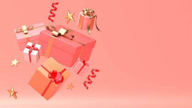 3d übertragen bild des verzierungsisolats des weihnachtsneuen jahres auf kopienraum-rosahintergrund.