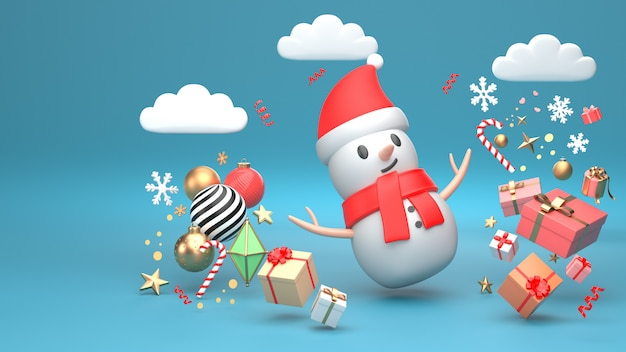 3d übertragen bild des verzierungsisolats des weihnachtsschneemann-neuen jahres auf kopienraum-blauhintergrund.