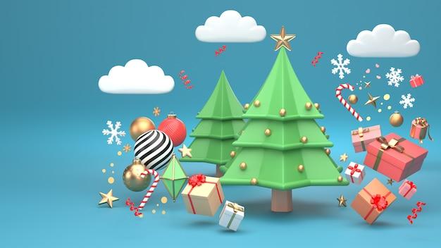 3d übertragen bild des weihnachtsbaumdesigns für weihnachtsfeiertag verzieren durch geometrische form und giftbox der verzierung.