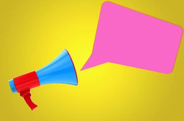 3d übertragen buntes megaphon mit rosa blasenchat auf gelbem hintergrund