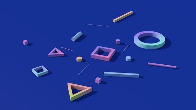 3d übertragen geometrische bunte formen auf blauem hintergrund