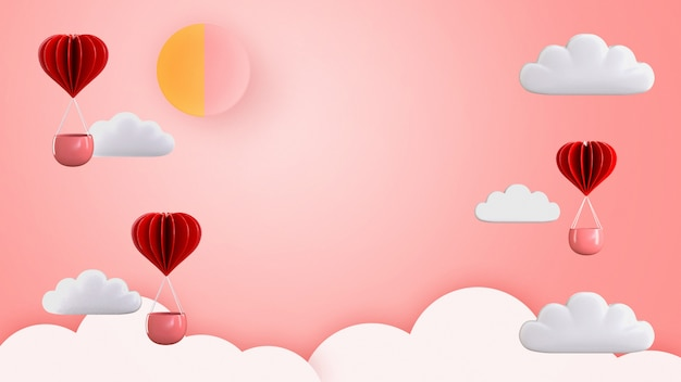 3d übertragen illustration des geformten heißluftballonschwimmens der liebe und des herzens.