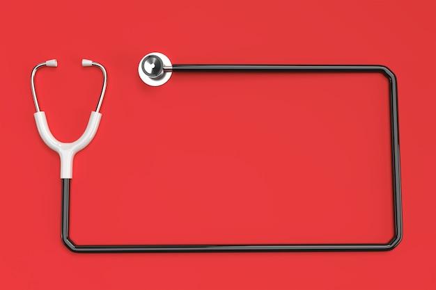 3d übertragen realistisches medizinisches stethoskop auf farbigem hintergrund.