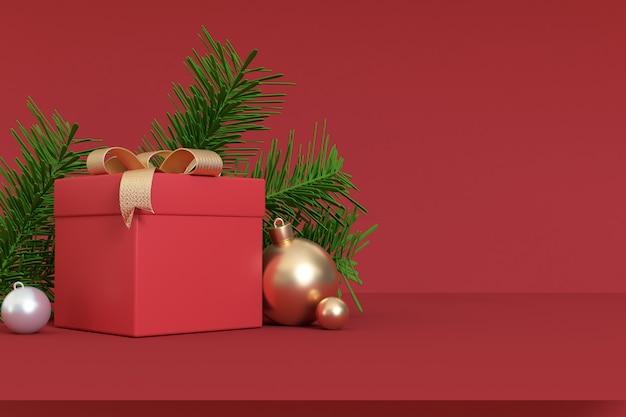 3d übertragen rechten freien raum des abstrakten weihnachtsroten szenengeschenkboxgoldballbandes, winter des feiertagsweihnachtsneuen jahres