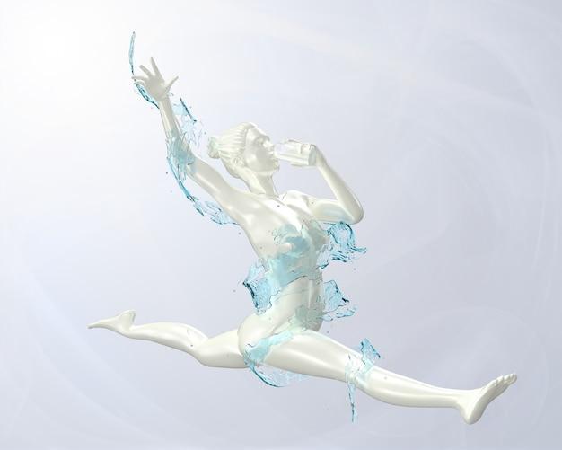 3d übertragen spritzen von milch konzept gymnastik haben gesund, weil getränk
