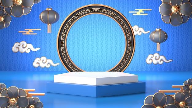 3d übertragen vom blauen geometrischen podium und von der chinesischen dekoration