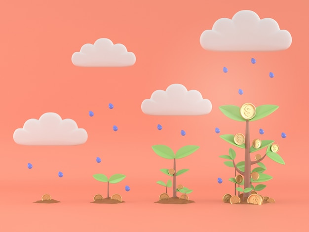 3d übertragen vom geldbaumwachsen