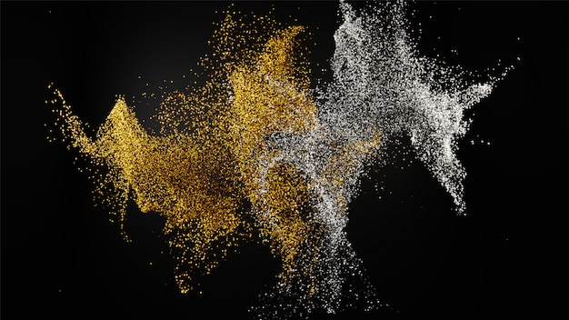 3d übertragen vom goldenen und silbernen mischfunkelnstaubpartikel auf querstation