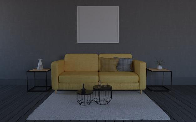 3d übertragen vom innenraum des modernen wohnzimmers mit sofa - couch und tabelle
