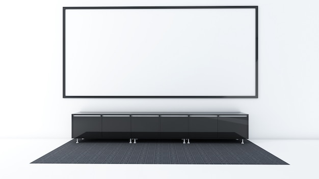 3d übertragen vom innenwohnzimmermodell, vom teppich und vom niedrigen kabinett