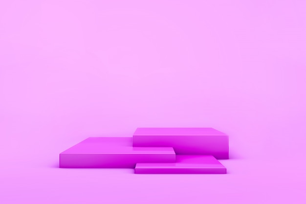 3d übertragen vom rosa girly stadium für produkte. . studiolicht. geometrische grundelemente