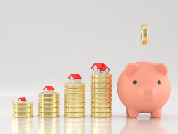3d übertragen vom sparschwein mit münzen und häusern