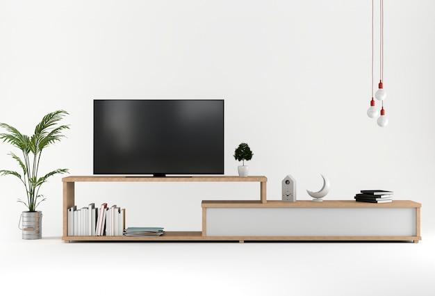 3d übertragen vom studio mit smart-tv, kabinett, dekoration.