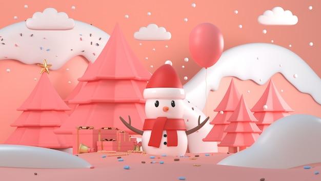 3d übertragen vom weihnachtsschneemann mit schneebedeckten bergen, bäumen und geschenken