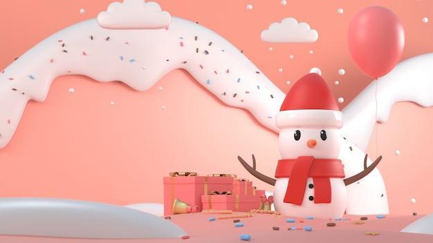 3d übertragen vom weihnachtsschneemann mit schneebedeckten bergen und geschenken