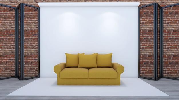 3d übertragen vom wohnzimmer und vom modell im studio