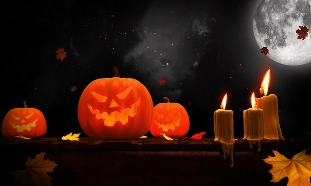 3d übertragen von den halloween-kürbisen auf holz in einem gespenstischen wald nachts.