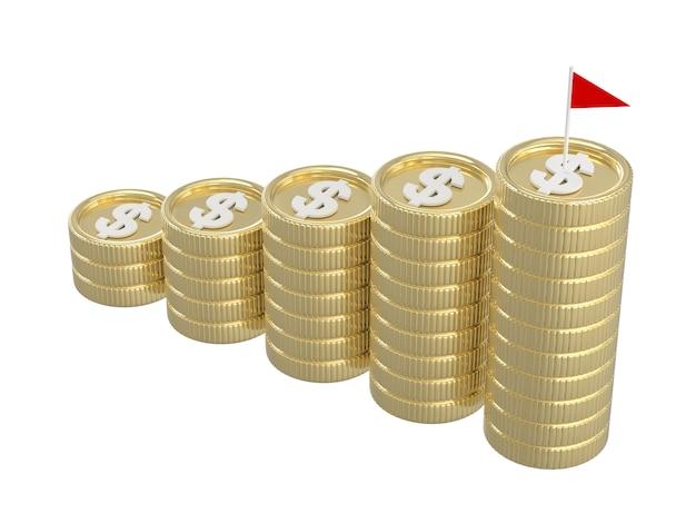 3d übertragen von den münzenstapeln mit flagge