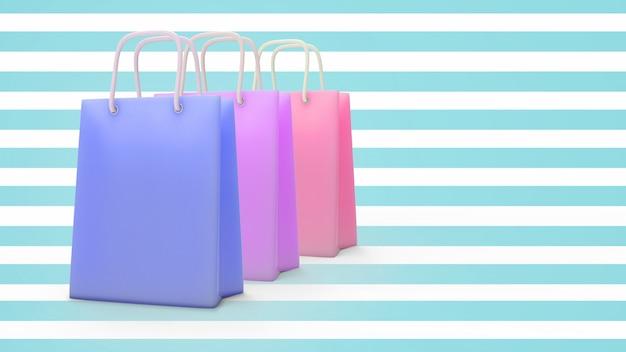 3d übertragen von der papiereinkaufstasche mit pastellcolo