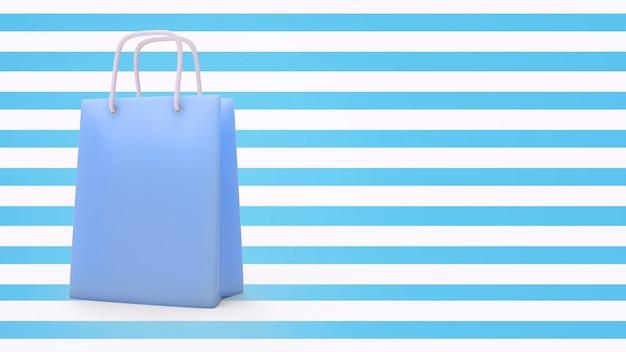 3d übertragen von der papiereinkaufstasche mit pastellfarbe und copyspace.