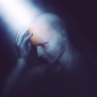 3d übertragen von einem männlichen medizinischen figur, hält den kopf vor schmerzen mit dramatischen beleuchtung