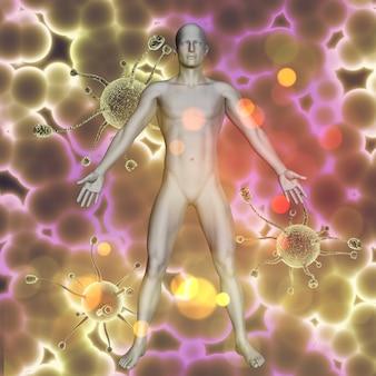 3d übertragen von einem medizinischen hintergrund mit männlicher abbildung auf viruszellen