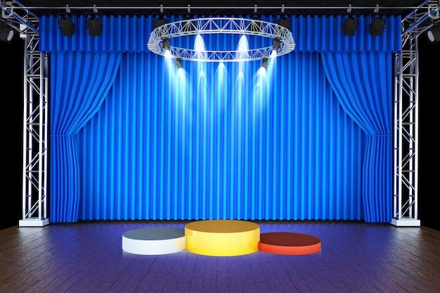 3d übertragen von einem podium, das drei zylinder mit unterschiedlicher höhe bronze, silber und besteht