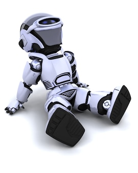 3d übertragen von einem roboter sitzen zurück und entspannen