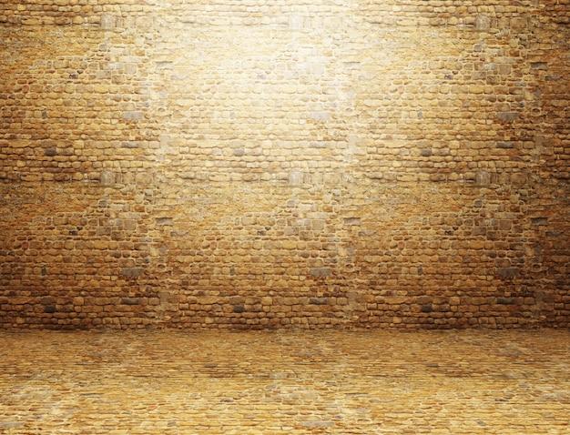 3d übertragen von einem schmutzrauminnenraum mit backsteinmauer und boden