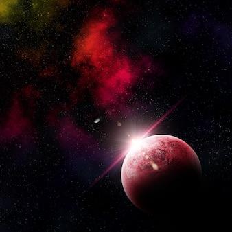 3d übertragen von einer abstrakten raumszene mit fiktiven planeten