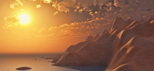 3d übertragen von einer berg-szene und meer gegen einen sonnenuntergang himmel