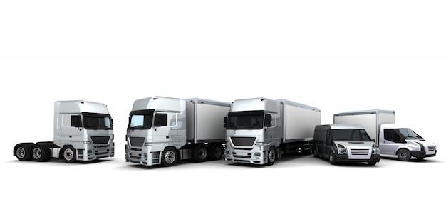 3d übertragen von einer flotte von lieferfahrzeuge render