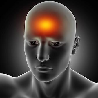 3d übertragen von einer männlichen medizinischen zahl mit kopfschmerzen