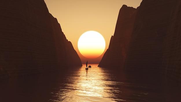 3d übertragen von einer yacht segeln auf einem sonnenuntergang himmel