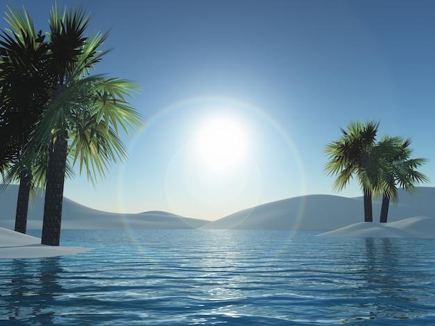 3d übertragen von palmen inseln und ozean