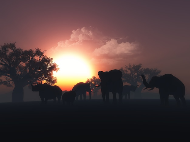 3d übertragen von wilden tieren in einer sonnenuntergang landschaft