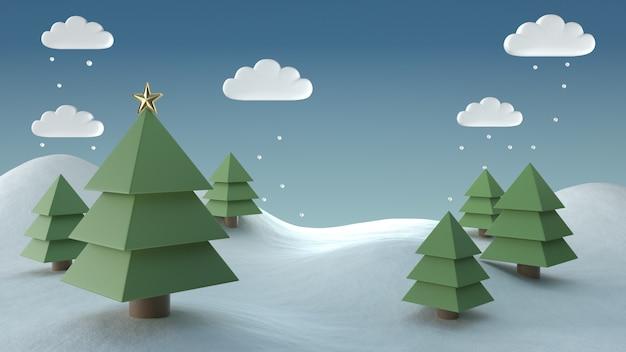 3d übertragen weihnachtsbild der schneeszenenszene mit kopienraum.