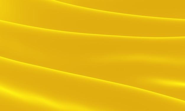 3d übertrug gelbes gewelltes tuch. abstrakter wellenhintergrund.