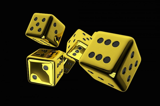 3d übertrug illustration von den glänzenden goldenen kasino-würfeln, die auf festem schwarzem hintergrund lokalisiert wurden.