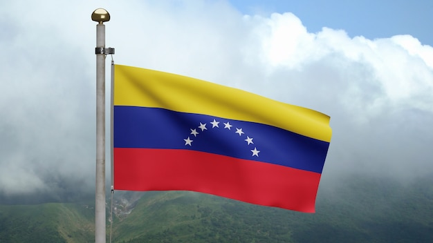 3d, venezolanische flagge weht im wind am berg. venezuela-banner bläst glatte seide. stoff textur fähnrich hintergrund. verwenden sie es für das konzept für nationalfeiertage und länderanlässe.