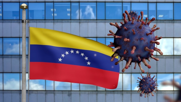 3d, venezolanische flagge weht mit moderner wolkenkratzerstadt und coronavirus-ausbruch als gefährliche grippe. influenza-virus vom typ covid 19 mit nationalem venezuela-banner, das im hintergrund weht