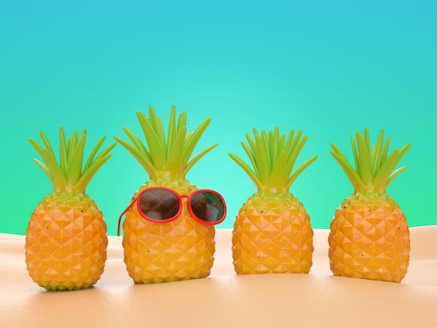3d veranschaulichen ananasstand auf strand sommerferienhintergrund