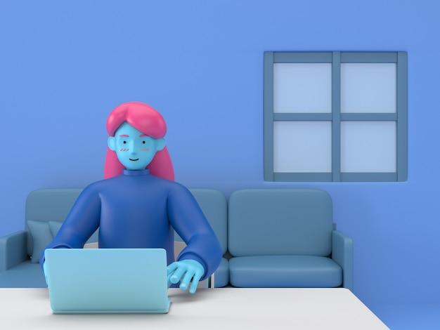 3d veranschaulichen arbeit und studie zu hause am arbeitsplatz. junge studentin teenager, die mit desktop-computertisch-tischinnenraum lernt.