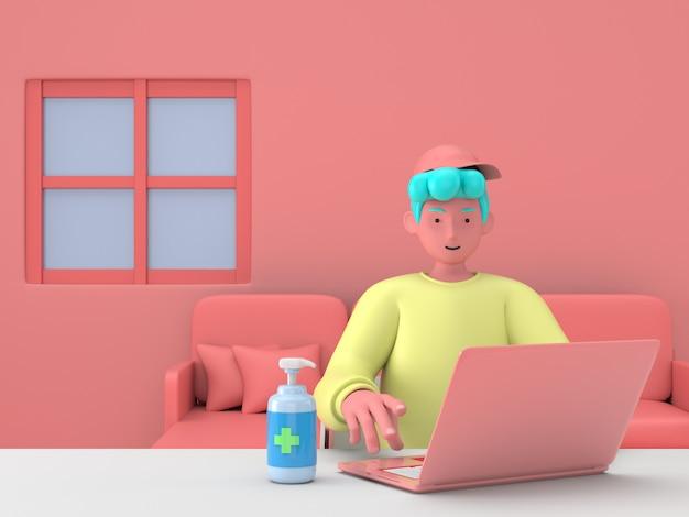 3d veranschaulichen arbeit und studieren zu hause am arbeitsplatz. junger männlicher studentjugendlicher, der das lernen mit desktop-computertisch-tischinnenraum arbeitet.