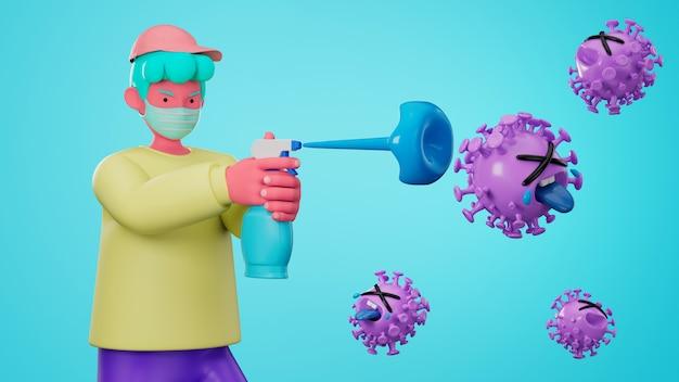 3d veranschaulichen zeichentrickfigur unter verwendung der alkoholgel-reinigungshand zum schutz der grippe und des koronavirus covid-19.