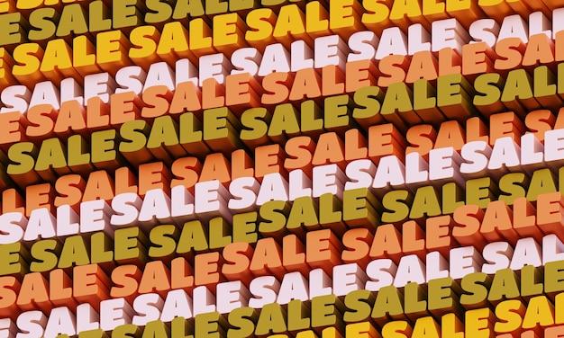 3d-verkauf-hintergrund. abstrakter typografischer 3d-schriftzughintergrund. modernes helles modisches wortmuster in den olivgrünen, gelben und orangefarbenen farben. zeitgenössisches cover, hintergrund und flyer