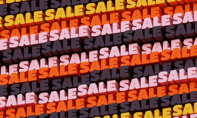 3d-verkauf-hintergrund. abstrakter typografischer 3d-schriftzughintergrund. modernes helles trendiges wortmuster in den farben gelb, rot und graphit. zeitgenössisches cover, hintergrund und flyer