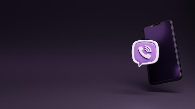 3d viber-logo-anwendung mit smartphone-display schwimmendes mobiltelefon mit social-media-logo